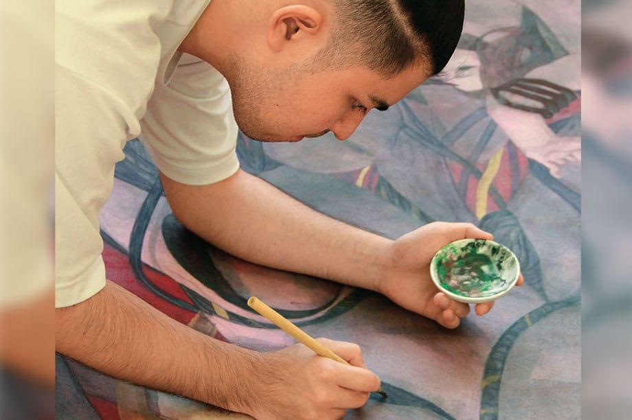 [写真]近藤 麻美(油画)の制作風景