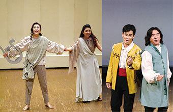 [写真]舞台でオペラを演奏する複数の学生