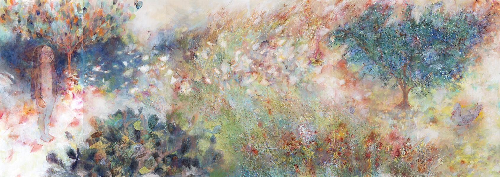 [写真]小林実沙紀《泉へ向かうものたちの声を聴く》2017-2018年、麻紙・岩絵具・水干絵具・金箔、170×480cm